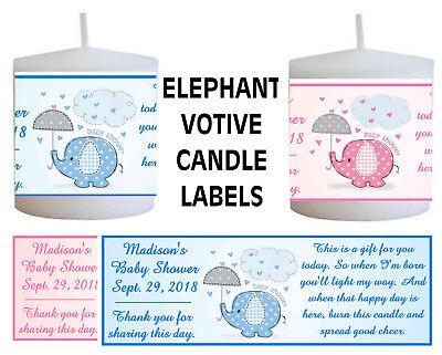 14 PINK ELEPHANT BLUE ELEPHANT BABY SHOWER FAVORS VOTIVE CANDLE LABELS - Blue Baby Elephant