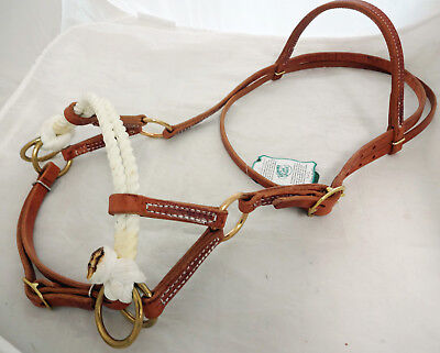 Side Pull Headstall Double Rope Nose Hermann Oak Harness Leather Horse Berlin  Double Rope Side Pull