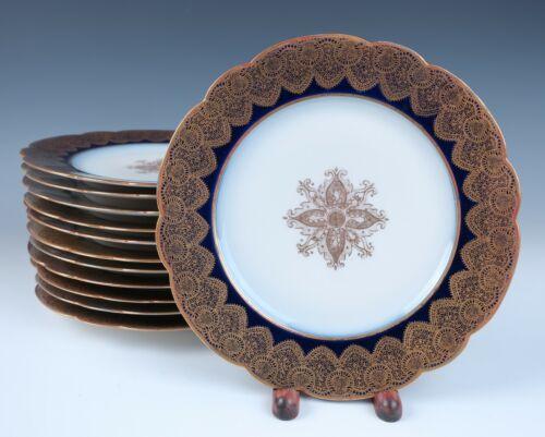 """Set 12 Redon Limoges Cobalt Gold Medallion 8.5"""" Plates Antique Porcelain France"""