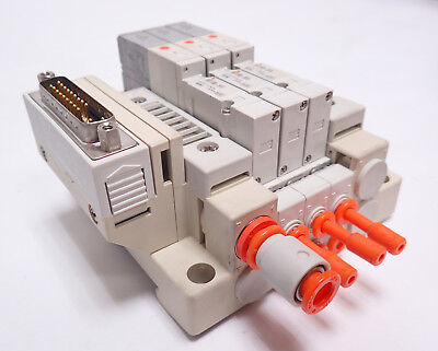 Smc Pneumatic Air Manifold W Three Sv1100-5fu Valves Sgl Sol Plug-in