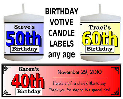 30th 40th 50th 60th 70th 80th BIRTHDAY PARTY FAVORS VOTIVE CANDLE - 30th Birthday Party Favors