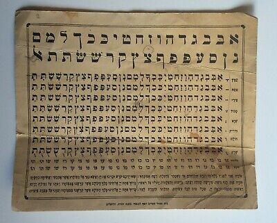 Hebrew Alphabet Table (Judaica The Alphabet Table old print Hebrew Israel Machane Yehuda Jerusalem)