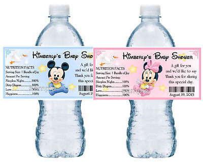 20 MICKEY MINNIE MOUSE BABY SHOWER WATER BOTTLE LABELS PARTY FAVORS - Baby Minnie Mouse Party Supplies