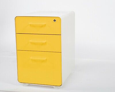 Poppin 3-drawer Mobile File Cabinet Legalletter Size Yellow