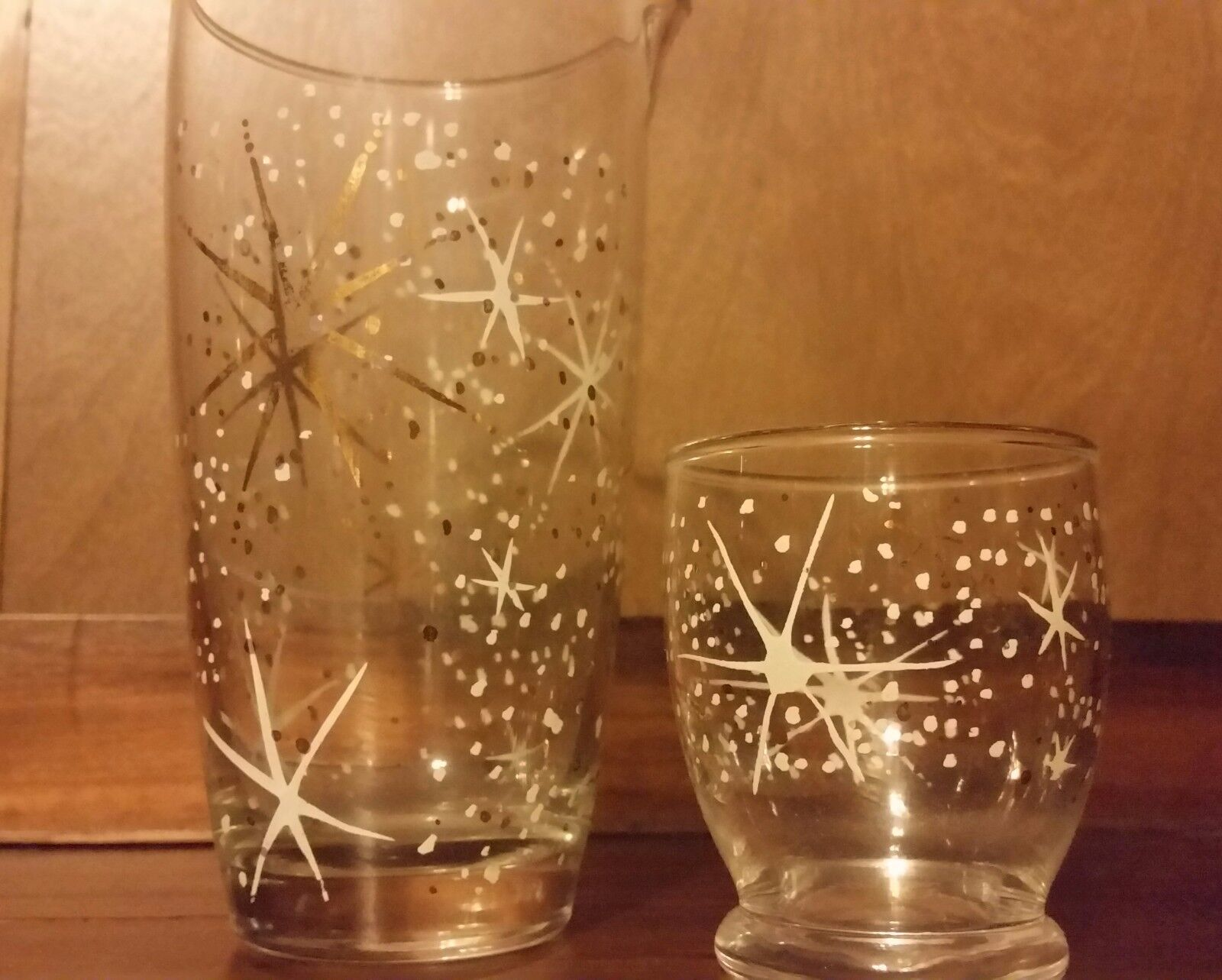 Vintage mid century atomic starburst glass martini cocktail pitcher mixer bar picclick uk - Starburst glassware ...