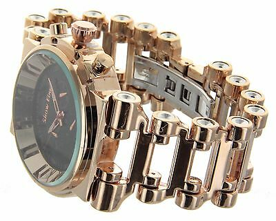 Jumbo Big Face Gold Finish Hi Hop Bicycle Chain Links Band Watch