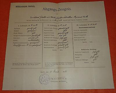 Milit�rtechnische Akademie Zeugnis Berlin 1906 Autograph Generalmajor Danzig