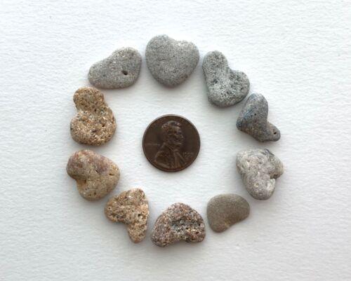 "💕10 Naturally Heart Shaped Beach Stones .5-.75""Love Rocks pebble art craft #H3C"