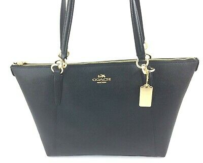 New COACH F57526 AVA Crossgrain Leather Tote Handbag Purse Shoulder Bag BLACK