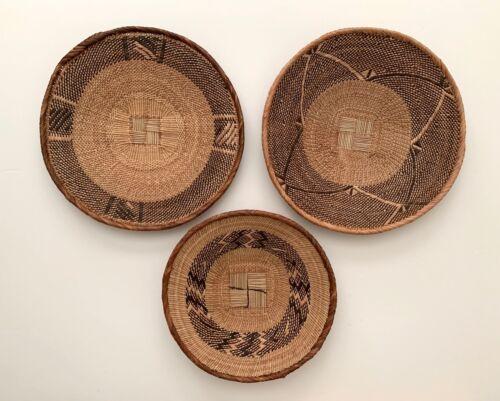 "Set of 3 Binga Tonga Basket Wall Decor Zimbabwe Africa 11.5"" 14"" African Art New"