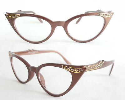 Cat Eye Nerd Brille Katzenaugenbrille braun nußbraun Klarglass Rockabilly 311