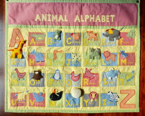 Pottery Barn Kids Gingham Quilted Animal Alphabet Wall Hanging Pockets EUC 34x28