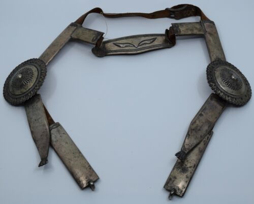 Antique native american Navajo heavy silver & leather bridle, bit hand stamped