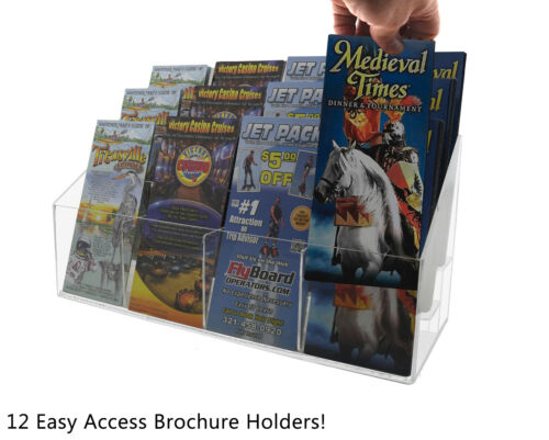 Brochure Holder Three Tier 12 Pocket Wall Mount or Countertop Qty 4