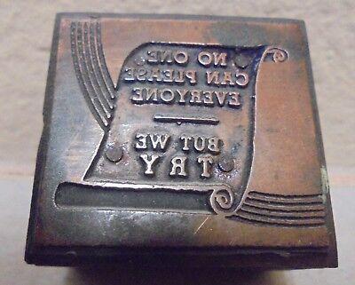 Vintage Printing Letterpress Printers Block Cut No One Can Please Everyone