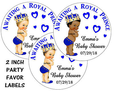 20 BABY SHOWER ROYAL PRINCE STICKERS LABELS for FAVORS ~popcorn, goody bags  - Royal Baby Shower Favors