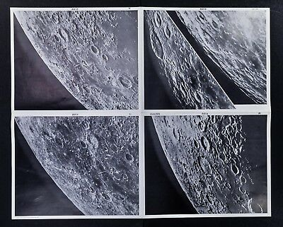 1960 Photographic Lunar Moon Map - 4 Photo Set - Field Gauss A2 Surface Craters