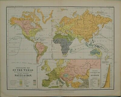 1850 Ethnographical Historical Map 19th Century Atlas The Human Races Map of the World World History Historical Print Historical Gift