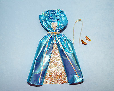 DAZZLING Medium Blue w/ White & Gold Accents Holiday BARBIE Formal w/ Heels