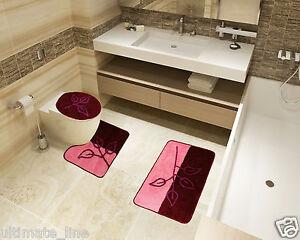 bath mat toilet rug set 2 3 piece non slip bathroom pedestal washable pink ebay. Black Bedroom Furniture Sets. Home Design Ideas
