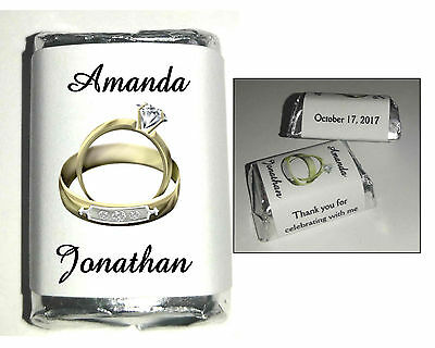 Personalized Wedding Rings (120 GOLD RINGS WEDDING FAVORS CANDY WRAPPERS FAVORS)