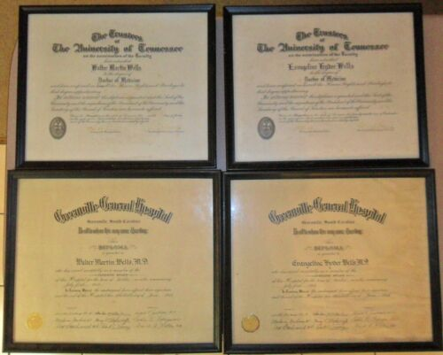 1954 Husband & Wife Doctor Diploma University of Tennessee, Greenville General H