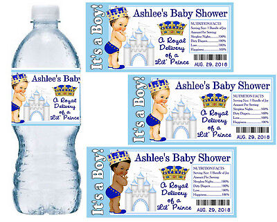 20 LITTLE PRINCE ROYAL PRINCE BABY SHOWER FAVORS PARTY  WATER BOTTLE LABELS - Royal Baby Shower Favors