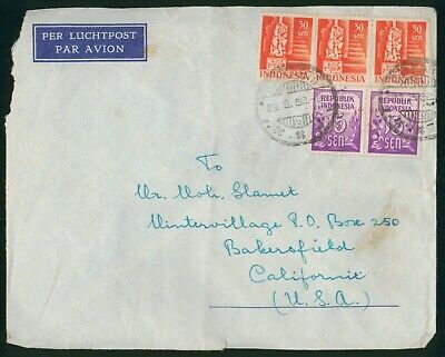 Mayfairstamps Indonesia 1952 to US Bakersfield CA airmail Cover wwo88797