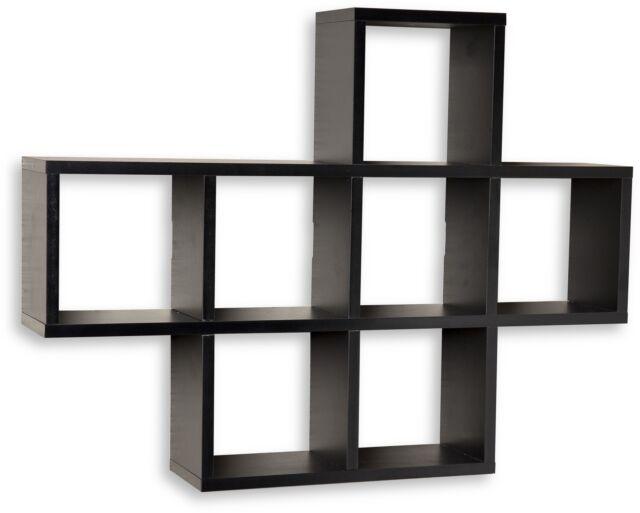 Black Corner Wall Shelf black floating wall shelf display wood 9 shelves corner storage