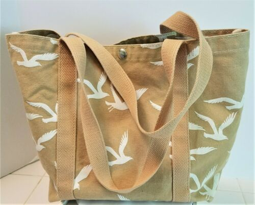 BOSTON HAND PRINT - CANVAS - DESIGNED w/ BIRD PRINT - Tan with White Birds