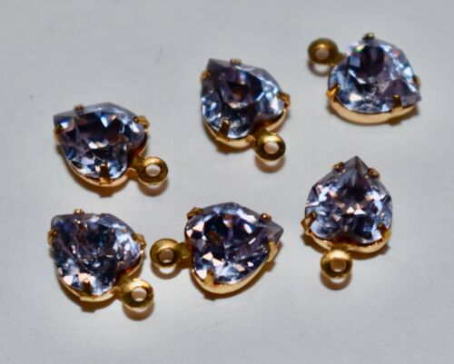 6 GLASS ALEXANDRITE HEART PENDANT BEADS • 8mm • made with Swarovski stones