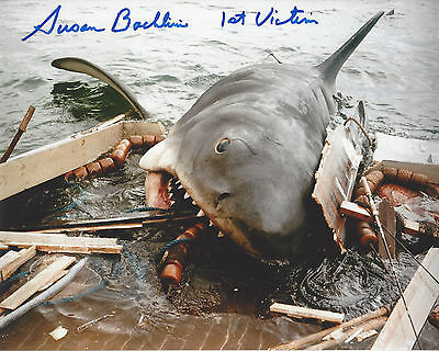 JAWS 1st Victim autographed 8x10 color photo  (Chrissie)  Shark Attack on boat
