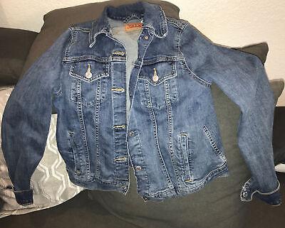 Levi's Womens Jacket Classic Trucker Blue Jean Button Up Distressed Denim Sz Xl