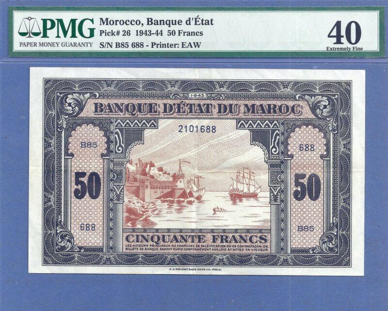 PMG-40 XF Morocco 50 Francs P-26  1-8-(19)43