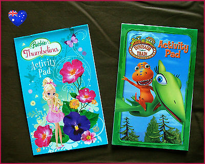 DINOSAUR TRAIN & BARBIE THUMBELINA  2 x ACTIVITY COLOUR IN BOOK Colouring Pads (Thumbelina Coloring Book)