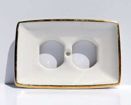 Vintage TOWNE Porcelain Outlet Wall Plate Cover White CONCAVE Gold Trim Set Of 3