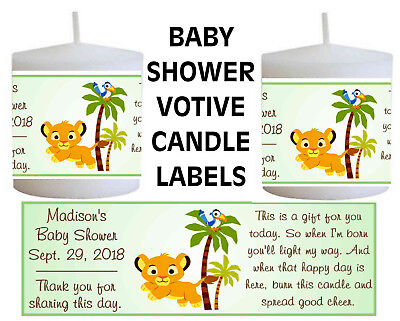 14 LION KING BABY SIMBA BABY SHOWER FAVORS VOTIVE CANDLE LABELS - Candle Baby Shower Favors