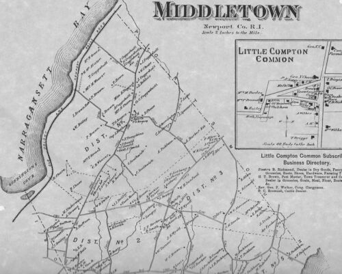 Middletown RI 1870 Map with Homeowners Names Shown