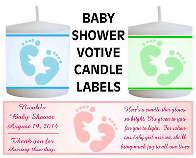 14 PERSONALIZED BABY SHOWER FAVORS VOTIVE CANDLE LABELS - Babyshower Favors