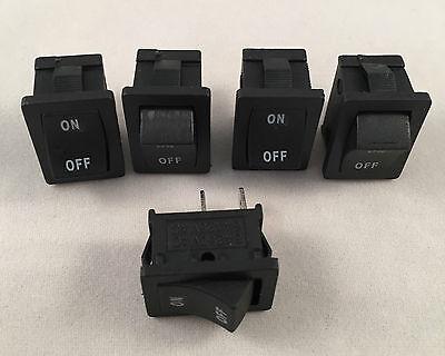 5 Pcs Are Mini Rocker Switch Black 6a 125v 3a 250v On-off Button 2 Pin Spst