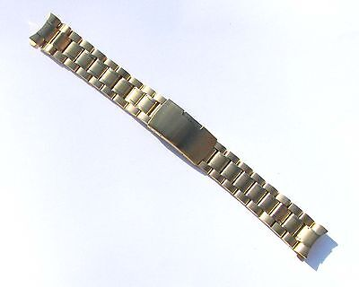 (18mm High Quality Stainless Steel Watch Band Gold-Tone Curve End Solid Links)