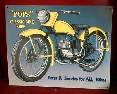 Harley HUMMER Art POPS Classic Bike Shop Vintage advertising on metal sign RARE