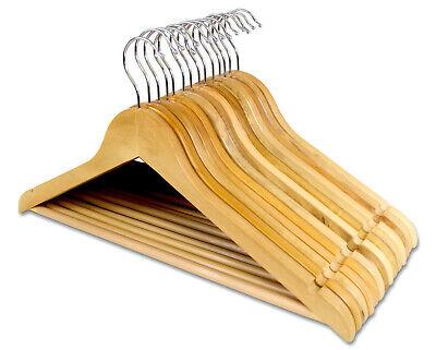1-100 Stück Kleiderbügel mit rutschfestem Hosensteg und Kleiderhaken Holz Natur ()