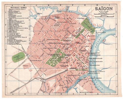 Original antique 1917 rare map of Saigon (Hồ Chí Minh City), Vietnam