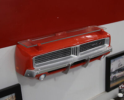 1969 Dodge Charger Painted Orange Resin Wall Decor w/ Glass Shelf: 7580-102