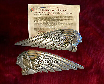 Zambini Bros 2 Color Indian Motorcycle Gas Tank Emblem - Badge set NOT Decal