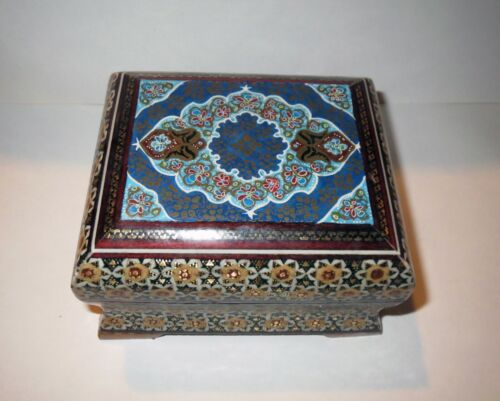 Vintage Asian MICRO MOSAIC BOX INLAID RARE WOOD & GEMSTONE - MINIATURE PAINTING