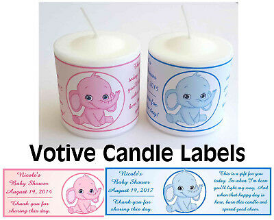 14 PINK ELEPHANT OR BLUE ELEPHANT BABY SHOWER FAVORS VOTIVE CANDLE LABELS