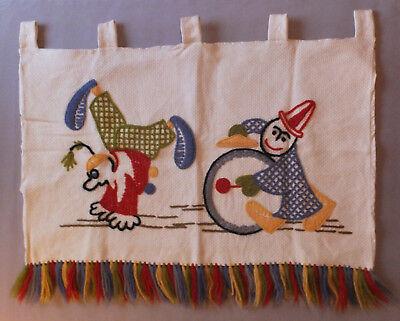 Vintage 60er Wandbehang, Wandschmuck Clowns Kinderzimmer, Handarbeit, (B-) Wolle