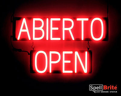 - SpellBrite Ultra-Bright ABIERTO OPEN Sign Neon look LED performance